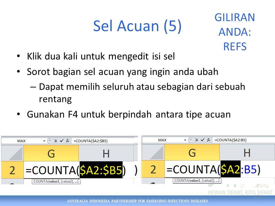 AUSTRALIA INDONESIA PARTNERSHIP FOR EMERGING INFECTIOUS DISEASES Sel Acuan (5) Klik dua kali untuk mengedit isi sel Sorot bagian sel acuan yang ingin anda ubah – Dapat memilih seluruh atau sebagian dari sebuah rentang Gunakan F4 untuk berpindah antara tipe acuan 43 GILIRAN ANDA: REFS
