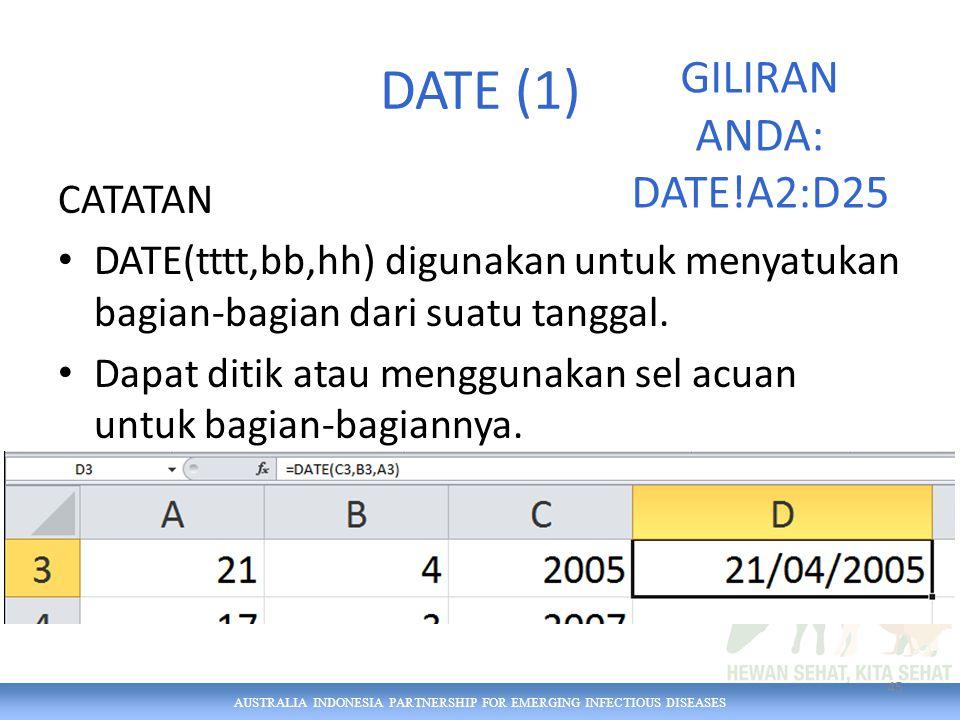 AUSTRALIA INDONESIA PARTNERSHIP FOR EMERGING INFECTIOUS DISEASES DATE (1) CATATAN DATE(tttt,bb,hh) digunakan untuk menyatukan bagian-bagian dari suatu tanggal.