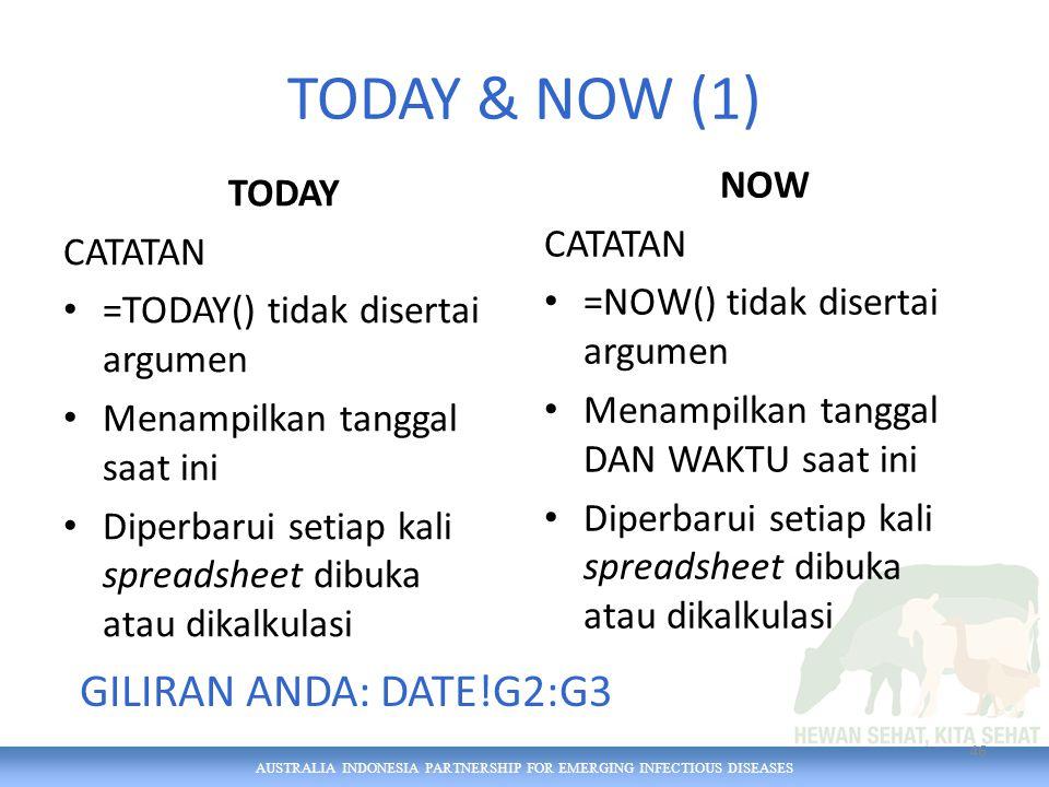 AUSTRALIA INDONESIA PARTNERSHIP FOR EMERGING INFECTIOUS DISEASES TODAY & NOW (1) TODAY CATATAN =TODAY() tidak disertai argumen Menampilkan tanggal saa