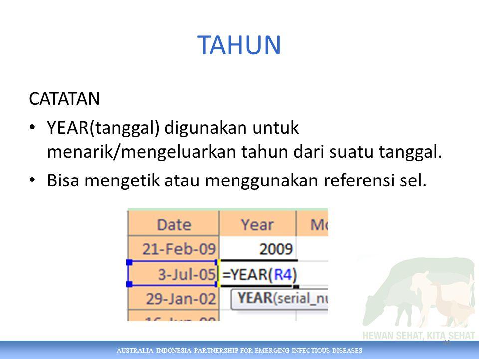 AUSTRALIA INDONESIA PARTNERSHIP FOR EMERGING INFECTIOUS DISEASES TAHUN CATATAN YEAR(tanggal) digunakan untuk menarik/mengeluarkan tahun dari suatu tanggal.