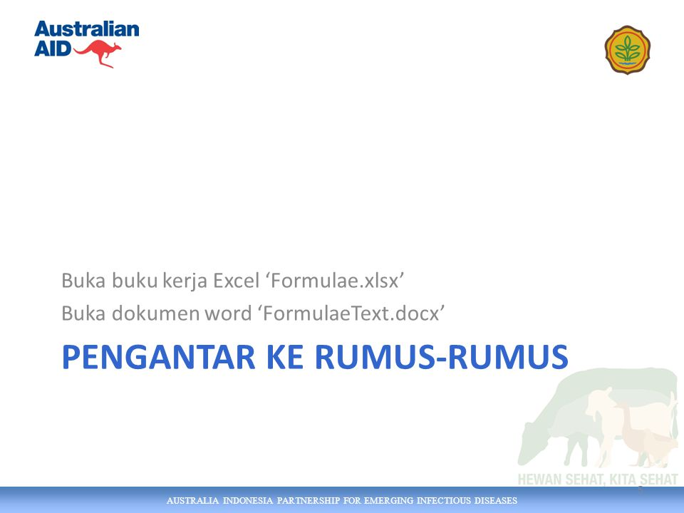AUSTRALIA INDONESIA PARTNERSHIP FOR EMERGING INFECTIOUS DISEASES PENGANTAR KE RUMUS-RUMUS Buka buku kerja Excel 'Formulae.xlsx' Buka dokumen word 'FormulaeText.docx' 5