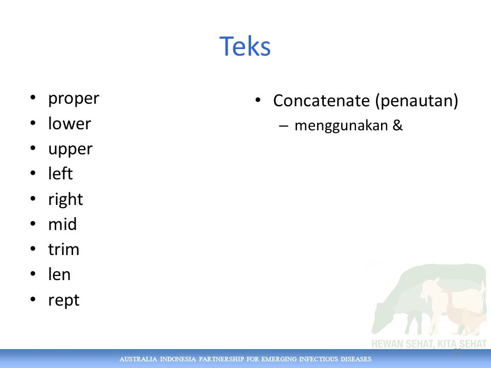 AUSTRALIA INDONESIA PARTNERSHIP FOR EMERGING INFECTIOUS DISEASES Teks proper lower upper left right mid trim len rept Concatenate (penautan) – menggunakan & 52