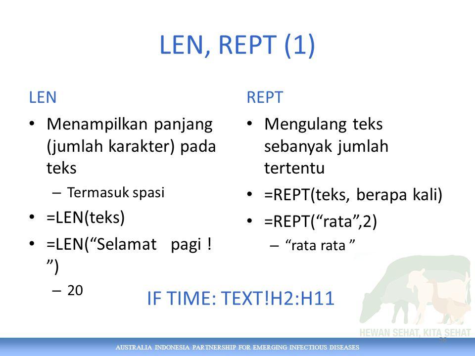 AUSTRALIA INDONESIA PARTNERSHIP FOR EMERGING INFECTIOUS DISEASES LEN, REPT (1) LEN Menampilkan panjang (jumlah karakter) pada teks – Termasuk spasi =LEN(teks) =LEN( Selamat pagi .