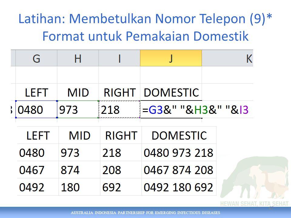 AUSTRALIA INDONESIA PARTNERSHIP FOR EMERGING INFECTIOUS DISEASES Latihan: Membetulkan Nomor Telepon (9)* Format untuk Pemakaian Domestik 67