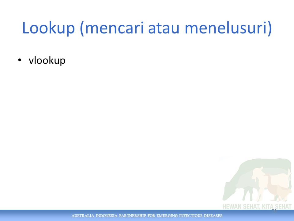 AUSTRALIA INDONESIA PARTNERSHIP FOR EMERGING INFECTIOUS DISEASES Lookup (mencari atau menelusuri) vlookup 70