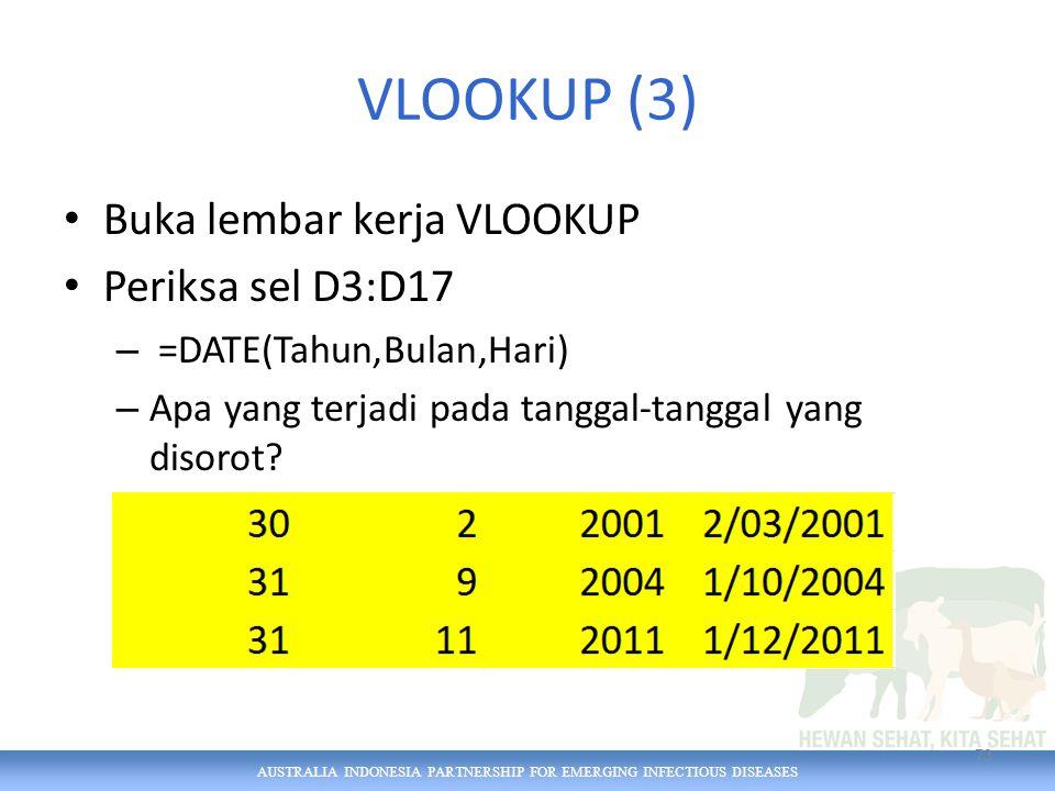 AUSTRALIA INDONESIA PARTNERSHIP FOR EMERGING INFECTIOUS DISEASES VLOOKUP (3) Buka lembar kerja VLOOKUP Periksa sel D3:D17 – =DATE(Tahun,Bulan,Hari) – Apa yang terjadi pada tanggal-tanggal yang disorot.
