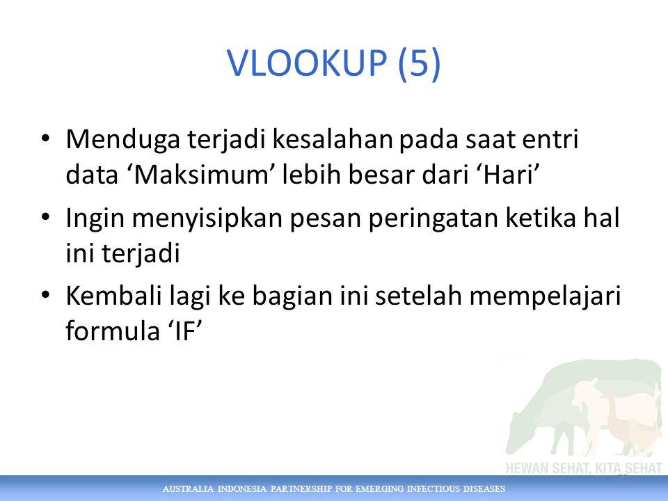 AUSTRALIA INDONESIA PARTNERSHIP FOR EMERGING INFECTIOUS DISEASES VLOOKUP (5) Menduga terjadi kesalahan pada saat entri data 'Maksimum' lebih besar dari 'Hari' Ingin menyisipkan pesan peringatan ketika hal ini terjadi Kembali lagi ke bagian ini setelah mempelajari formula 'IF' 75