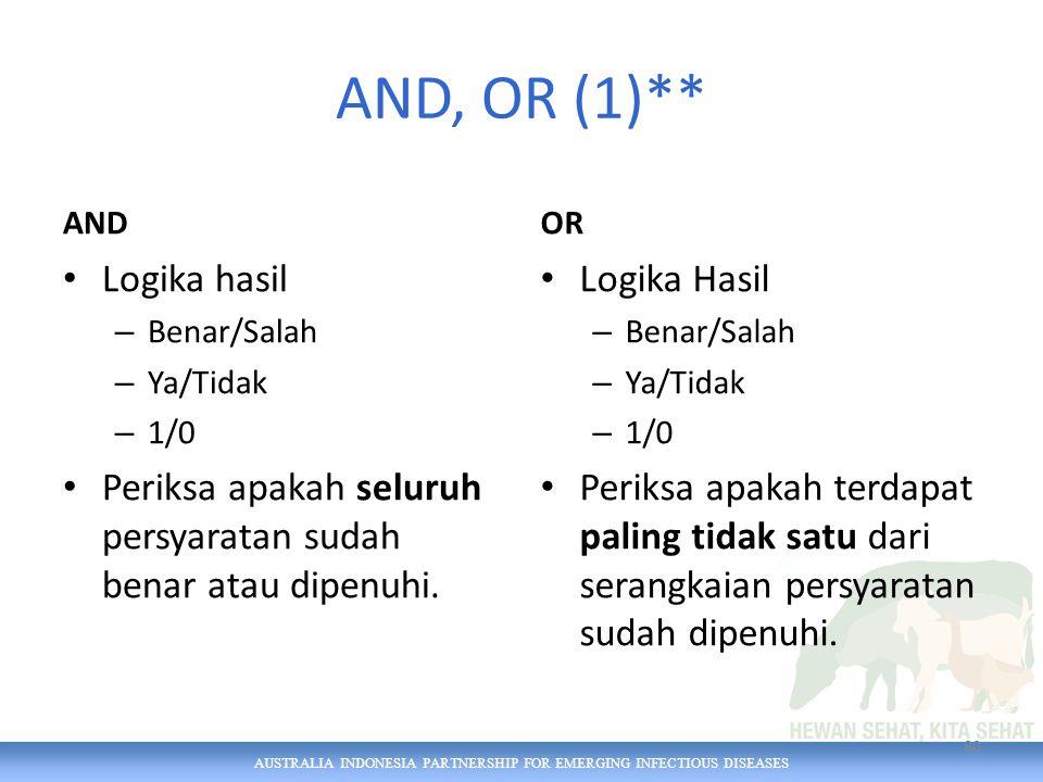 AUSTRALIA INDONESIA PARTNERSHIP FOR EMERGING INFECTIOUS DISEASES AND, OR (1)** AND Logika hasil – Benar/Salah – Ya/Tidak – 1/0 Periksa apakah seluruh persyaratan sudah benar atau dipenuhi.