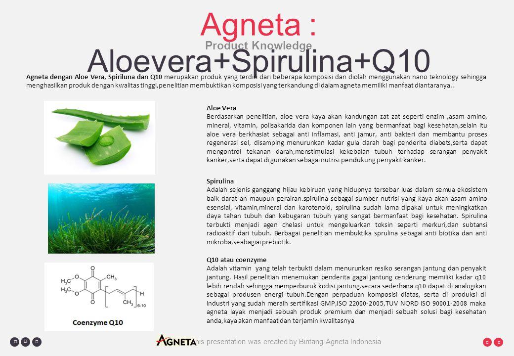     Agneta : Aloevera+Spirulina+Q10 Product Knowledge Agneta dengan Aloe Vera, Spiriluna dan Q10 merupakan produk yang terdiri dari beberapa komposisi dan diolah menggunakan nano teknology sehingga menghasilkan produk dengan kwalitas tinggi,penelitian membuktikan komposisi yang terkandung di dalam agneta memiliki manfaat diantaranya..