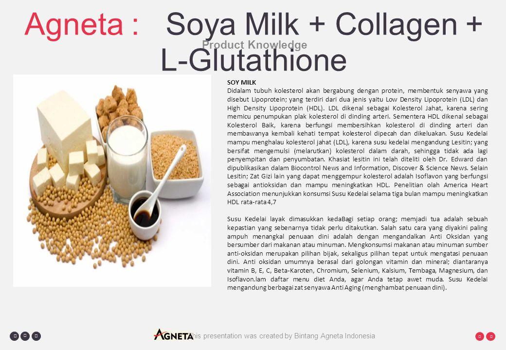     This presentation was created by Bintang Agneta Indonesia Agneta : Soya Milk + Collagen + L-Glutathione Product Knowledge SOY MILK Didalam tubuh kolesterol akan bergabung dengan protein, membentuk senyawa yang disebut Lipoprotein; yang terdiri dari dua jenis yaitu Low Density Lipoprotein (LDL) dan High Density Lipoprotein (HDL).