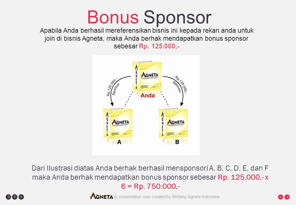     This presentation was created by Bintang Agneta Indonesia Bonus Sponsor Apabila Anda berhasil mereferensikan bisnis ini kepada rekan anda untuk join di bisnis Agneta, maka Anda berhak mendapatkan bonus sponsor sebesar Rp.