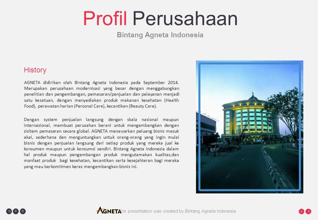     This presentation was created by Bintang Agneta Indonesia Profil Perusahaan Bintang Agneta Indonesia AGNETA didirikan oleh Bintang Agneta Indonesia pada September 2014.