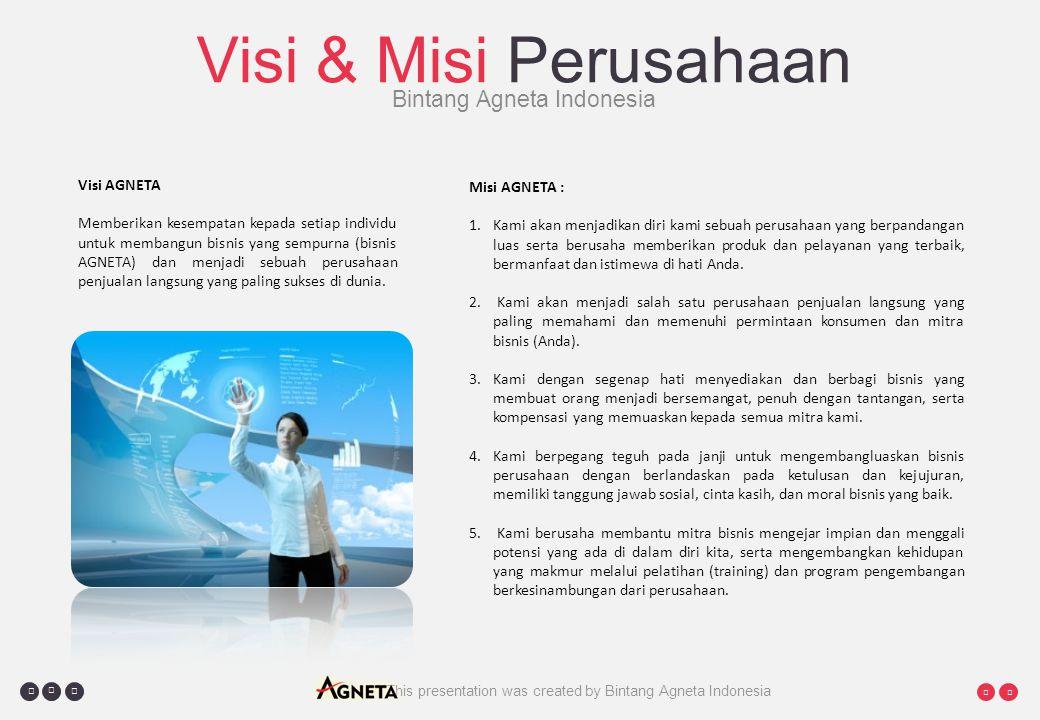     This presentation was created by Bintang Agneta Indonesia Visi & Misi Perusahaan Bintang Agneta Indonesia Visi AGNETA Memberikan kesempatan kepada setiap individu untuk membangun bisnis yang sempurna (bisnis AGNETA) dan menjadi sebuah perusahaan penjualan langsung yang paling sukses di dunia.