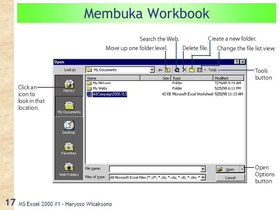 MS Excel 2000 #1 – Haryoso Wicaksono 17 Membuka Workbook