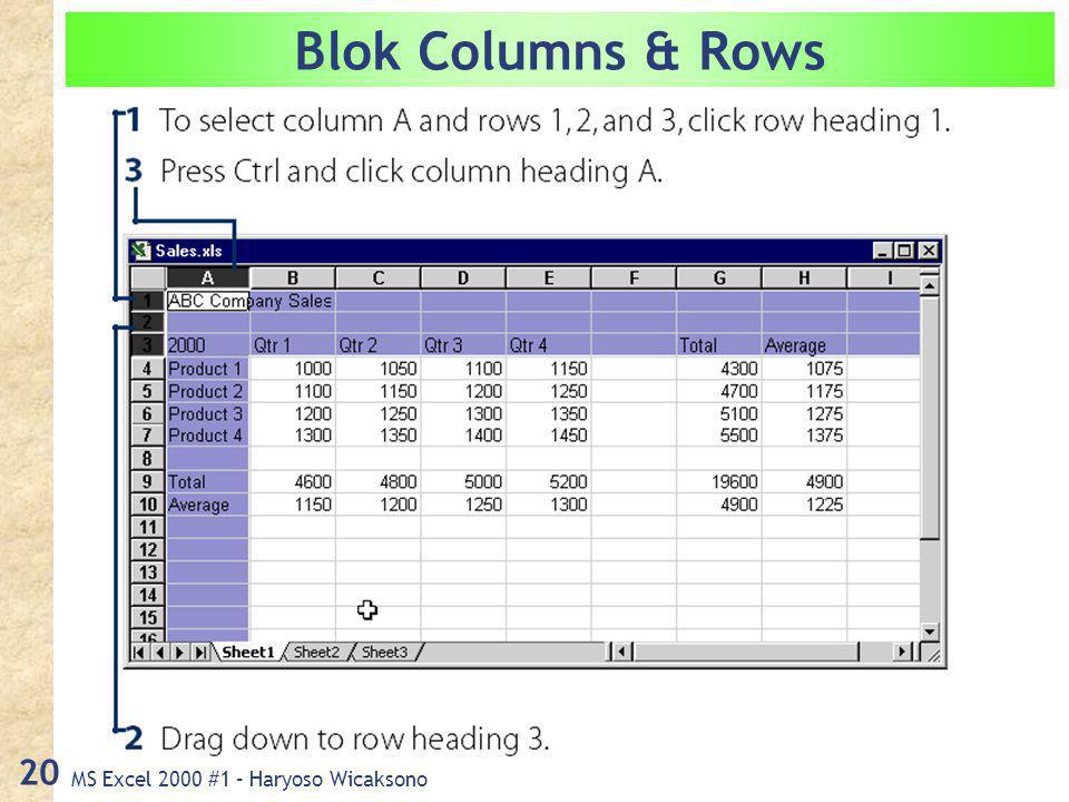 MS Excel 2000 #1 – Haryoso Wicaksono 20 Blok Columns & Rows
