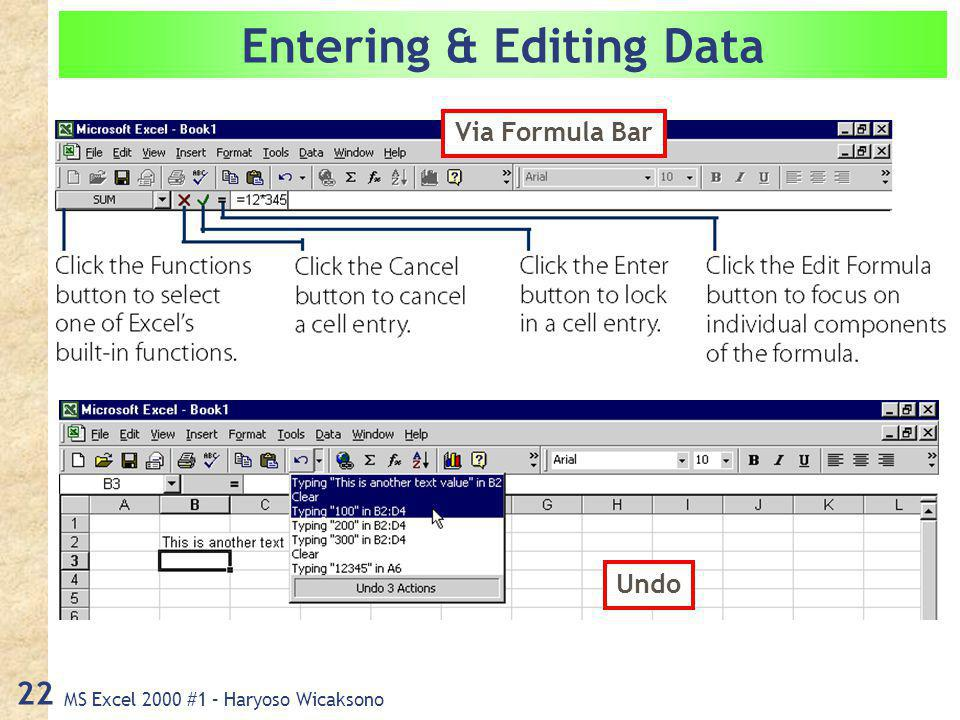 MS Excel 2000 #1 – Haryoso Wicaksono 22 Entering & Editing Data Via Formula Bar Undo