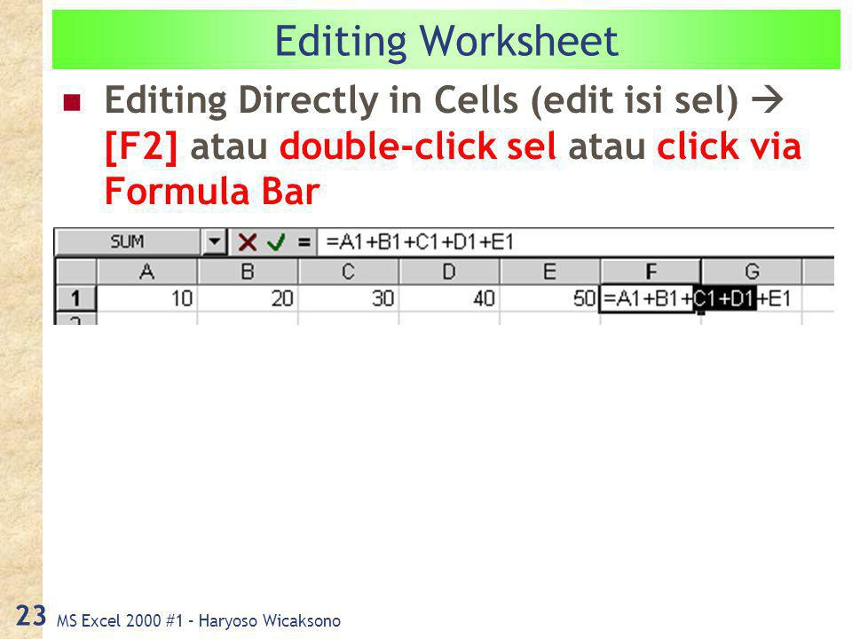 MS Excel 2000 #1 – Haryoso Wicaksono 23 Editing Worksheet Editing Directly in Cells (edit isi sel)  [F2] atau double-click sel atau click via Formula Bar