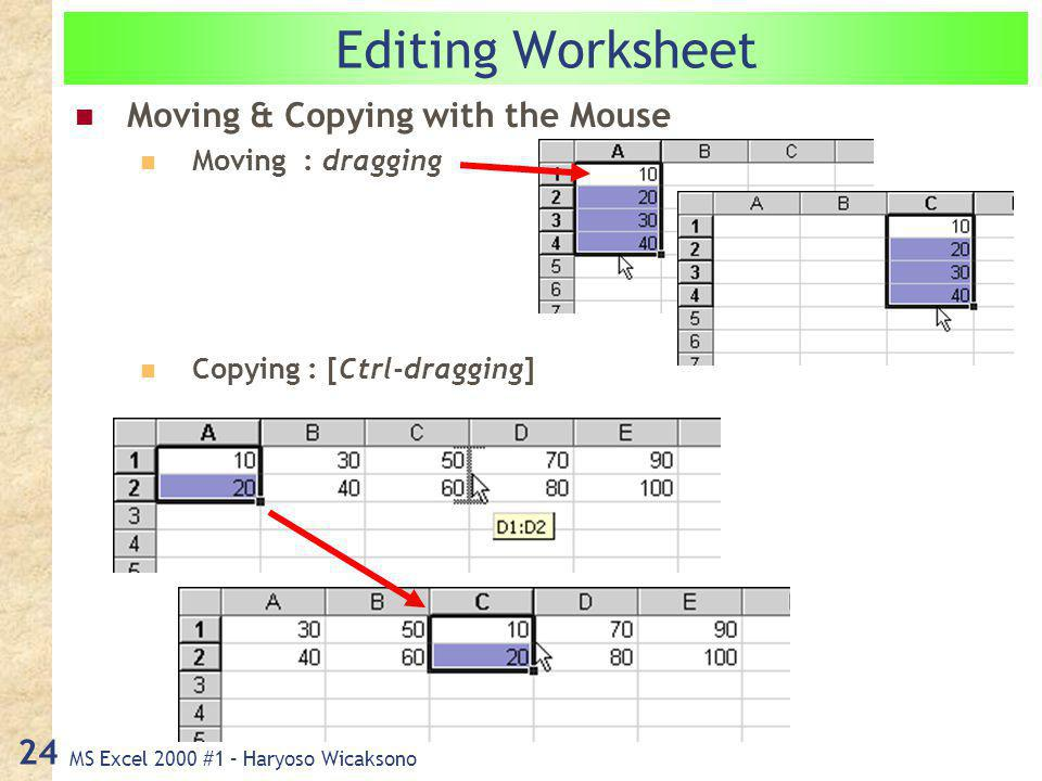 MS Excel 2000 #1 – Haryoso Wicaksono 24 Editing Worksheet Moving & Copying with the Mouse Moving : dragging Copying : [Ctrl-dragging]