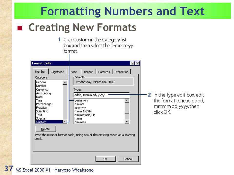 MS Excel 2000 #1 – Haryoso Wicaksono 37 Formatting Numbers and Text Creating New Formats