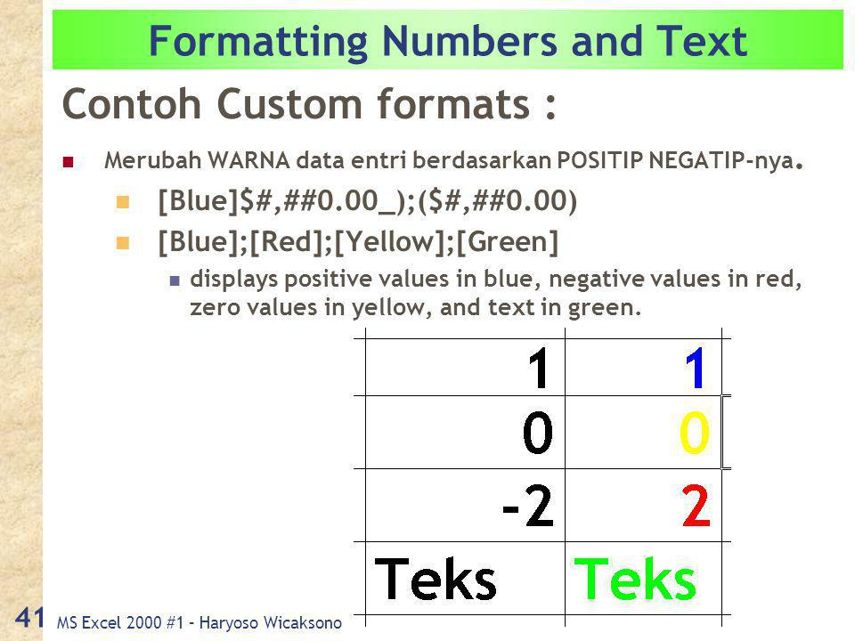 MS Excel 2000 #1 – Haryoso Wicaksono 41 Formatting Numbers and Text Contoh Custom formats : Merubah WARNA data entri berdasarkan POSITIP NEGATIP-nya.