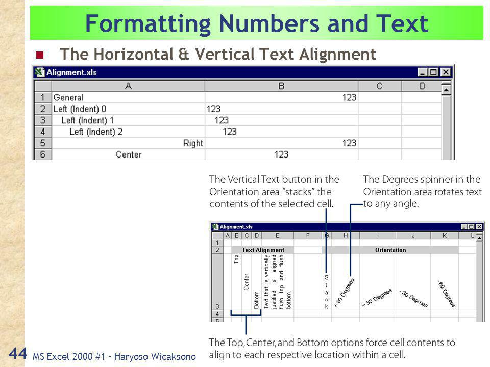 MS Excel 2000 #1 – Haryoso Wicaksono 44 Formatting Numbers and Text The Horizontal & Vertical Text Alignment