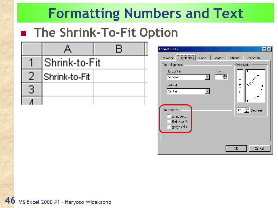 MS Excel 2000 #1 – Haryoso Wicaksono 46 Formatting Numbers and Text The Shrink-To-Fit Option