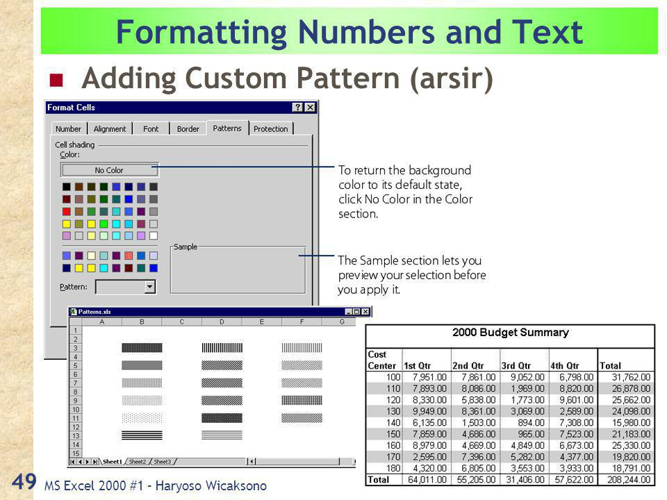 MS Excel 2000 #1 – Haryoso Wicaksono 49 Formatting Numbers and Text Adding Custom Pattern (arsir)
