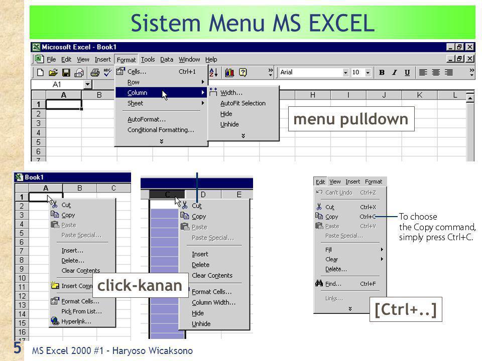MS Excel 2000 #1 – Haryoso Wicaksono 5 Sistem Menu MS EXCEL menu pulldown [Ctrl+..] click-kanan
