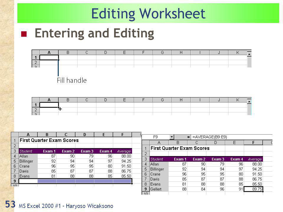 MS Excel 2000 #1 – Haryoso Wicaksono 53 Editing Worksheet Entering and Editing