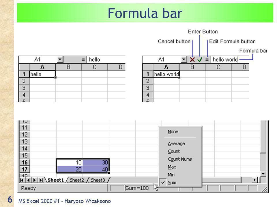 MS Excel 2000 #1 – Haryoso Wicaksono 6 Formula bar