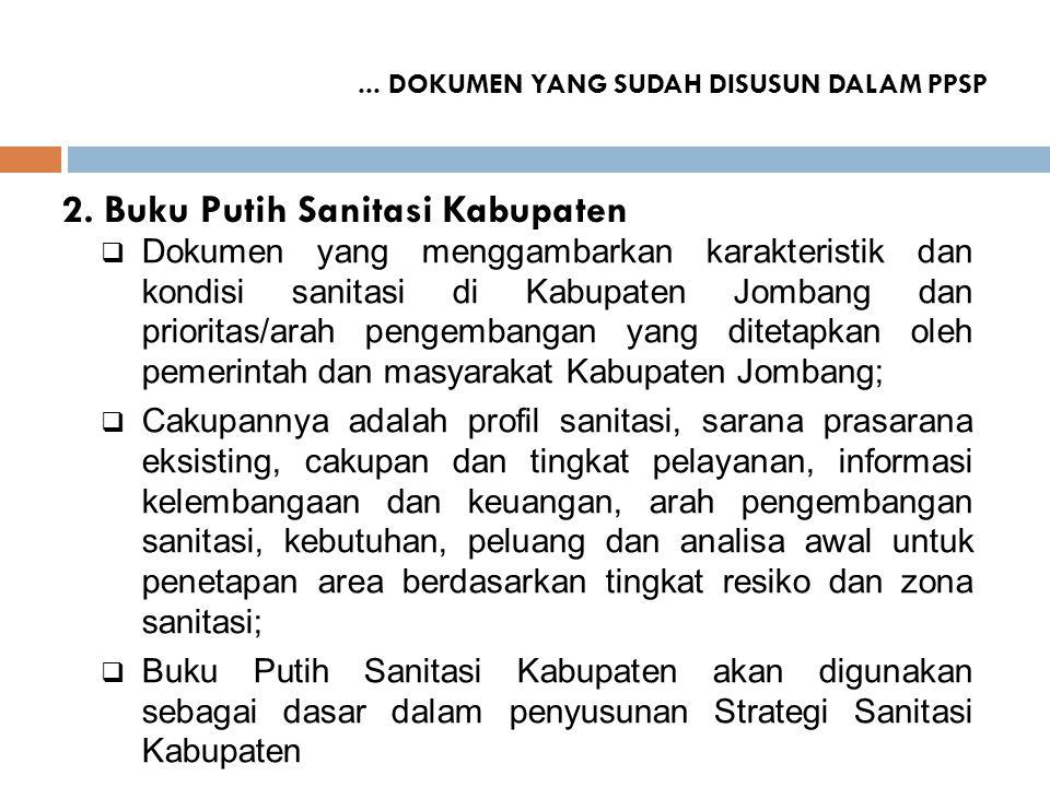 2. Buku Putih Sanitasi Kabupaten  Dokumen yang menggambarkan karakteristik dan kondisi sanitasi di Kabupaten Jombang dan prioritas/arah pengembangan