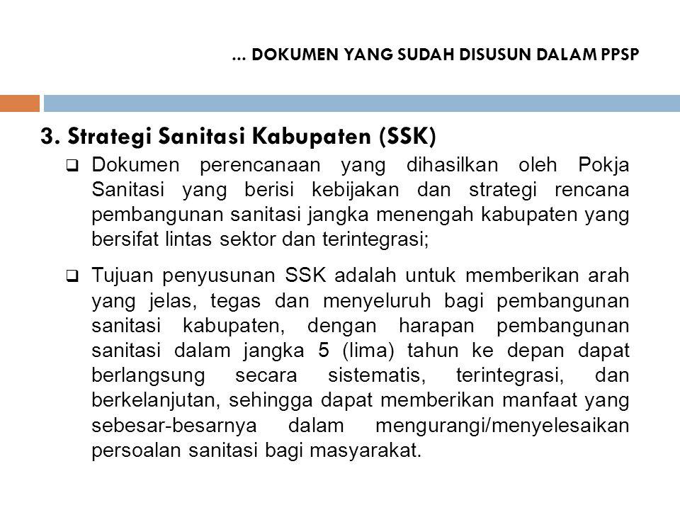 ... DOKUMEN YANG SUDAH DISUSUN DALAM PPSP 3. Strategi Sanitasi Kabupaten (SSK)  Dokumen perencanaan yang dihasilkan oleh Pokja Sanitasi yang berisi k