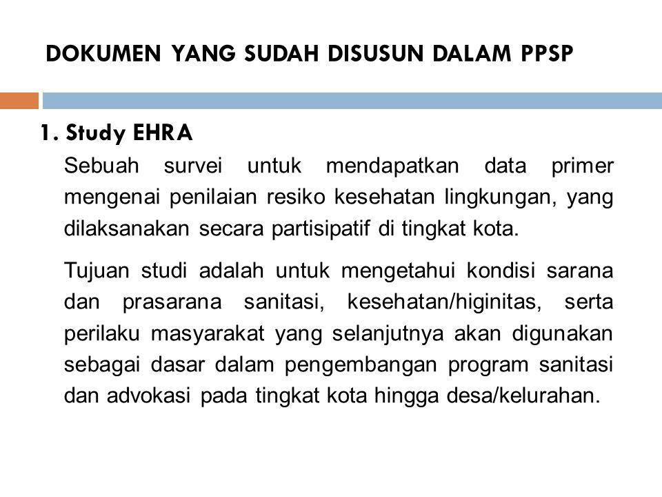 DOKUMEN YANG SUDAH DISUSUN DALAM PPSP 1. Study EHRA Sebuah survei untuk mendapatkan data primer mengenai penilaian resiko kesehatan lingkungan, yang d