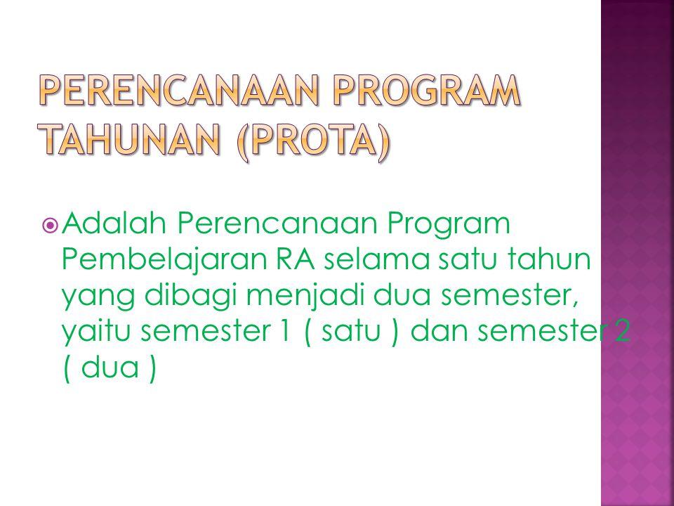  Adalah Perencanaan Program Pembelajaran RA selama satu tahun yang dibagi menjadi dua semester, yaitu semester 1 ( satu ) dan semester 2 ( dua )
