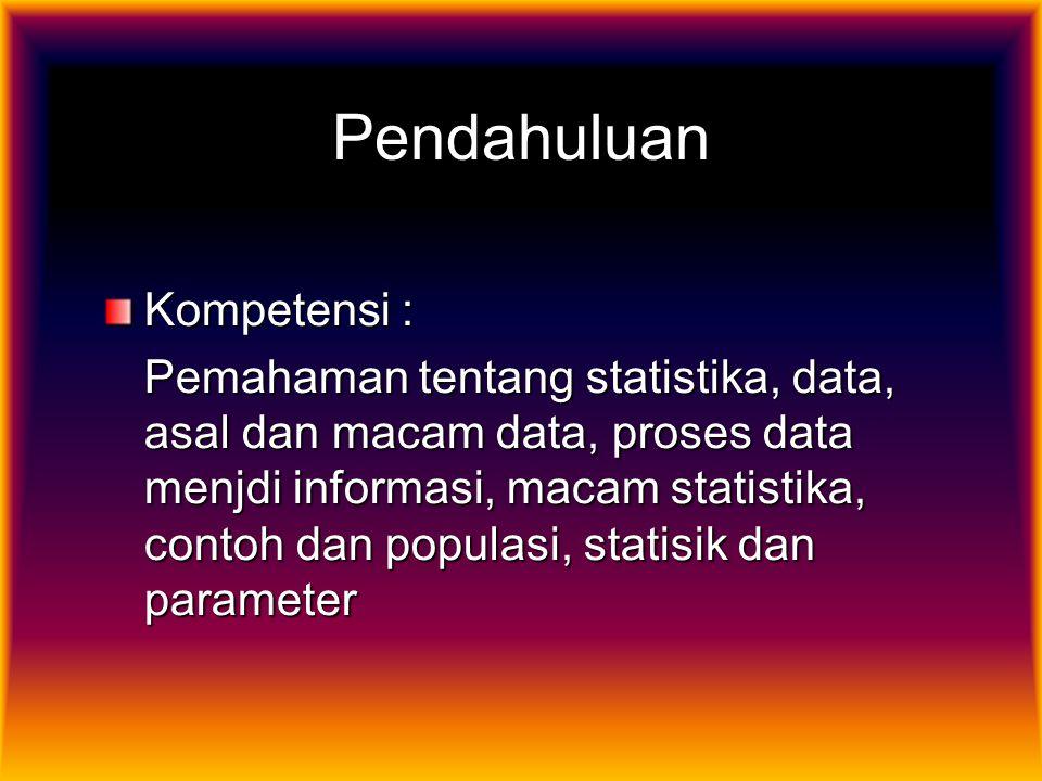 Pendahuluan Kompetensi : Pemahaman tentang statistika, data, asal dan macam data, proses data menjdi informasi, macam statistika, contoh dan populasi,