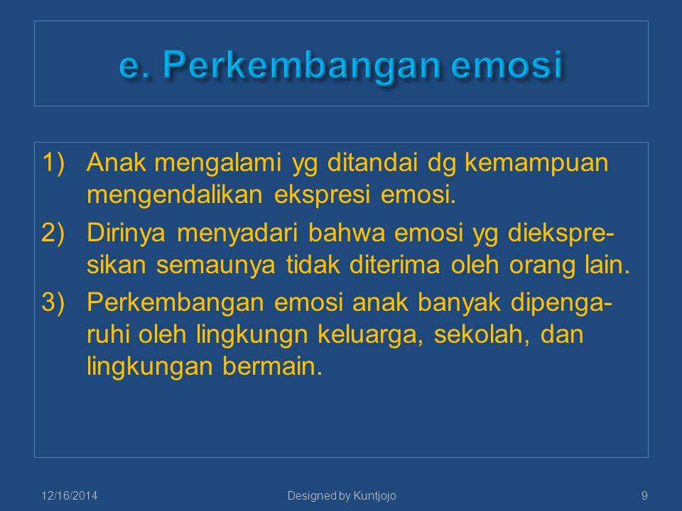1)Anak mengalami yg ditandai dg kemampuan mengendalikan ekspresi emosi. 2)Dirinya menyadari bahwa emosi yg diekspre- sikan semaunya tidak diterima ole