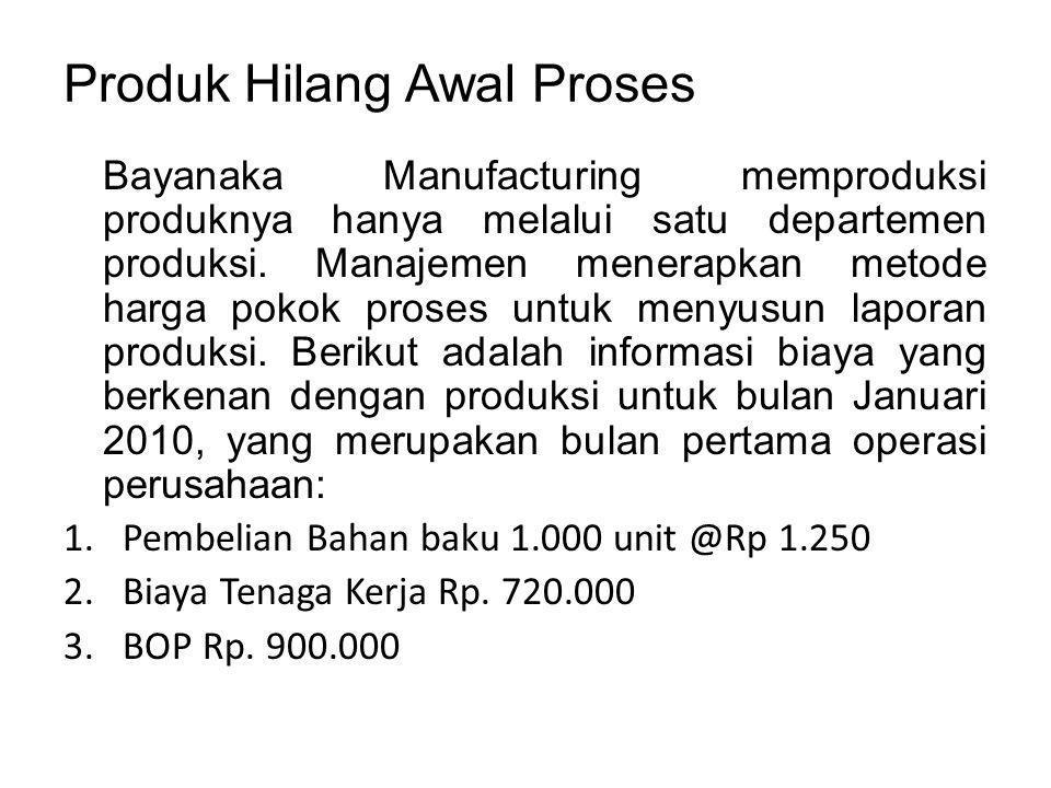 Produk Hilang Awal Proses Bayanaka Manufacturing memproduksi produknya hanya melalui satu departemen produksi.