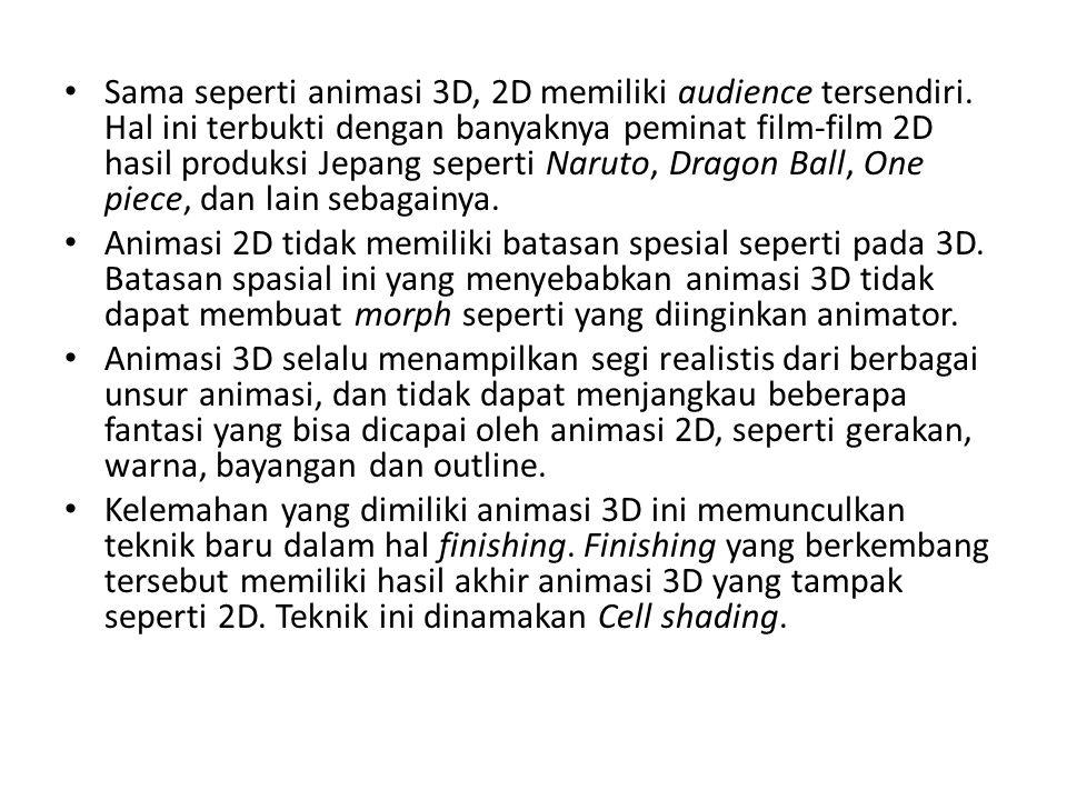 Sama seperti animasi 3D, 2D memiliki audience tersendiri. Hal ini terbukti dengan banyaknya peminat film-film 2D hasil produksi Jepang seperti Naruto,
