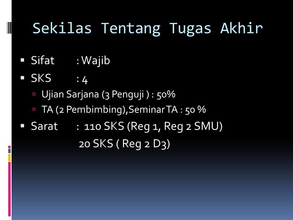 Sekilas Tentang Tugas Akhir  Sifat : Wajib  SKS: 4  Ujian Sarjana (3 Penguji ) : 50%  TA (2 Pembimbing),Seminar TA : 50 %  Sarat: 110 SKS (Reg 1, Reg 2 SMU) 20 SKS ( Reg 2 D3)