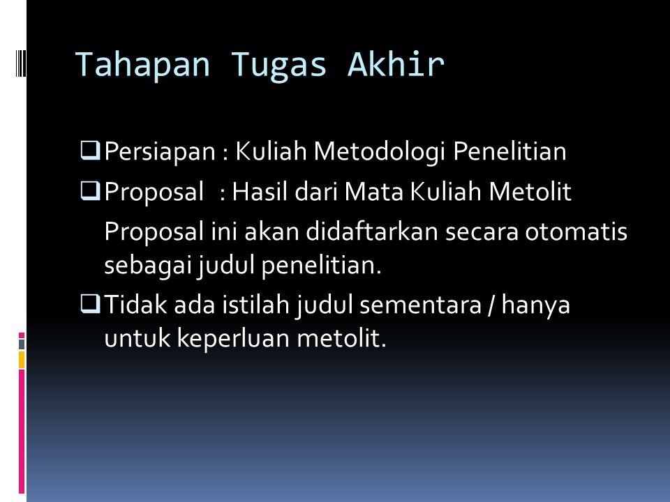 Tahapan Tugas Akhir  Persiapan : Kuliah Metodologi Penelitian  Proposal : Hasil dari Mata Kuliah Metolit Proposal ini akan didaftarkan secara otomatis sebagai judul penelitian.