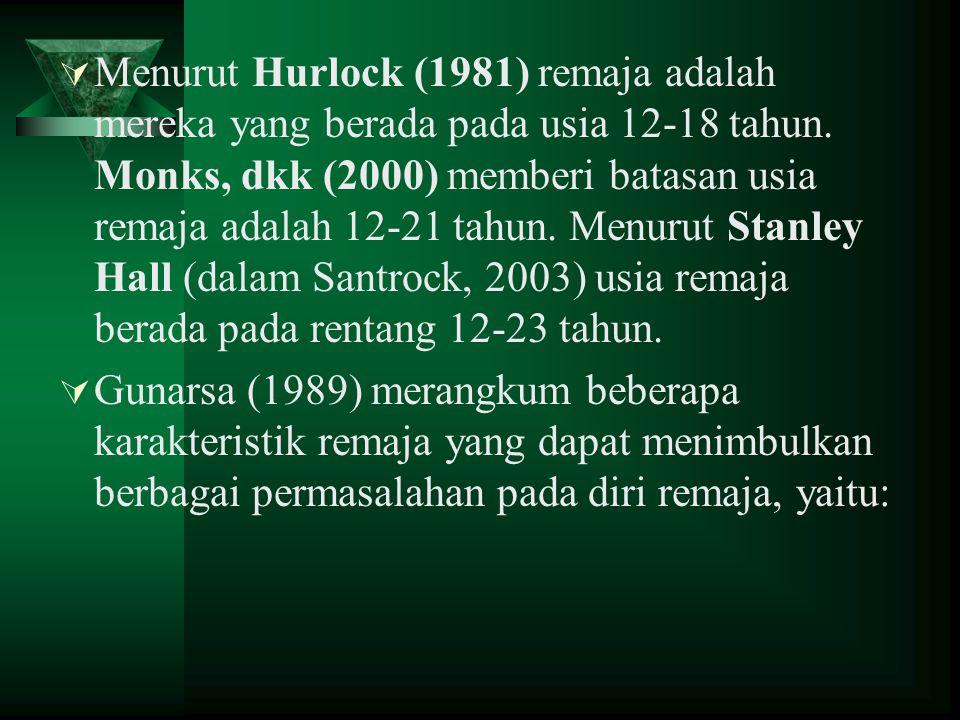  Menurut Hurlock (1981) remaja adalah mereka yang berada pada usia 12-18 tahun. Monks, dkk (2000) memberi batasan usia remaja adalah 12-21 tahun. Men