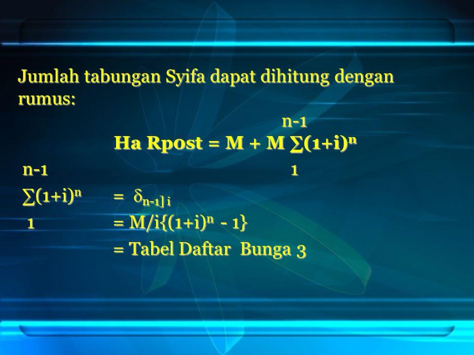 Jumlah tabungan Syifa dapat dihitung dengan rumus: n-1 n-1 Ha Rp0st = M + M ∑(1+i) n n-1 1 n-1 1 ∑(1+i) n =  n-1] i ∑(1+i) n =  n-1] i 1= M/i{(1+i)