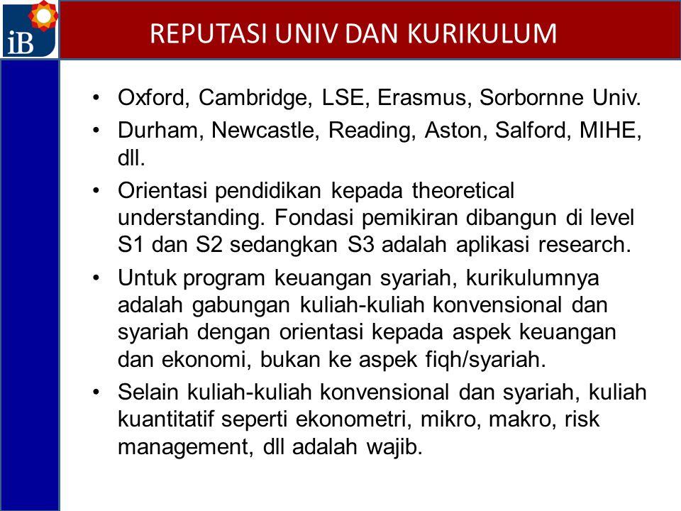 Oxford, Cambridge, LSE, Erasmus, Sorbornne Univ.