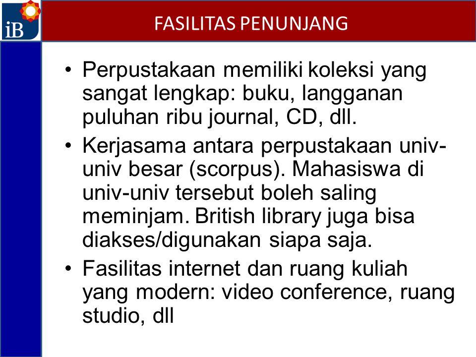 Perpustakaan memiliki koleksi yang sangat lengkap: buku, langganan puluhan ribu journal, CD, dll.