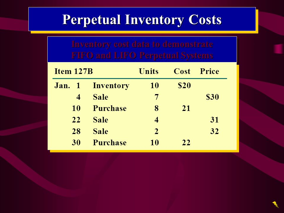 Perpetual Inventory Costs Inventory cost data to demonstrate FIFO and LIFO Perpetual Systems Inventory cost data to demonstrate FIFO and LIFO Perpetua