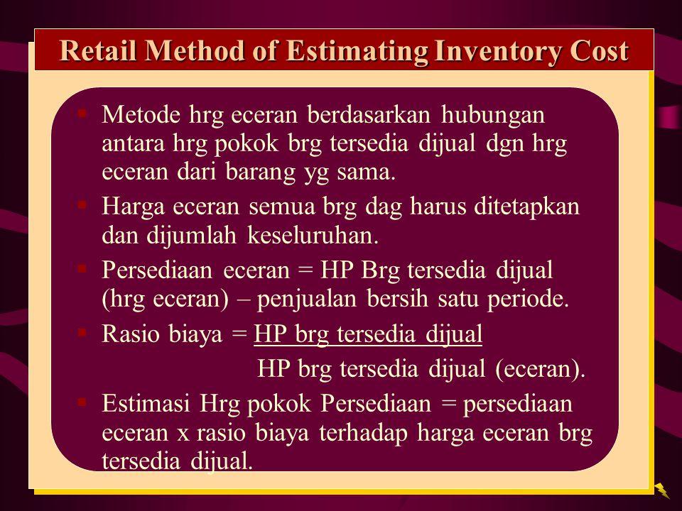 Retail Method of Estimating Inventory Cost  Metode hrg eceran berdasarkan hubungan antara hrg pokok brg tersedia dijual dgn hrg eceran dari barang yg sama.