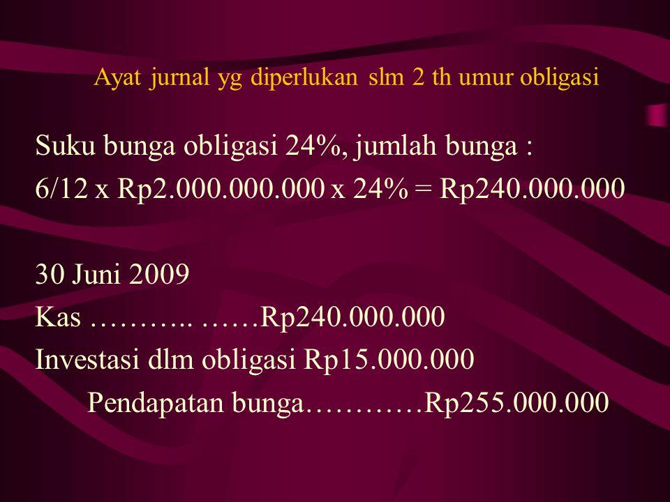 Ayat jurnal yg diperlukan slm 2 th umur obligasi Suku bunga obligasi 24%, jumlah bunga : 6/12 x Rp2.000.000.000 x 24% = Rp240.000.000 30 Juni 2009 Kas ………..