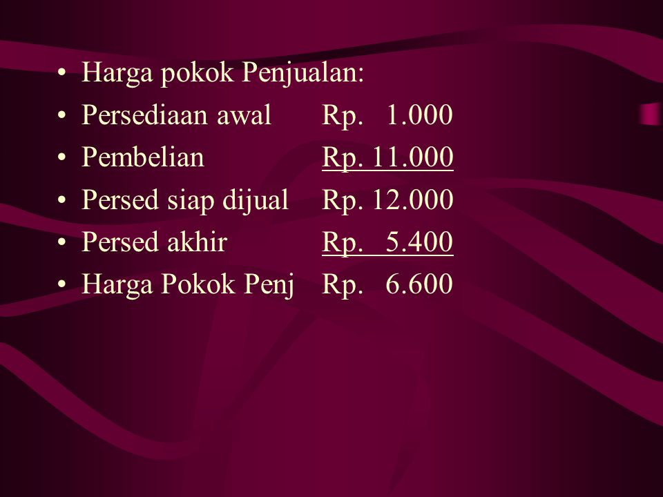 FIFO (First In First Out) Harga Pokok Persed akhir: UnitHP/UH.Pokok 29/11400Rp.13Rp.5.200 20/9 50Rp.12Rp.