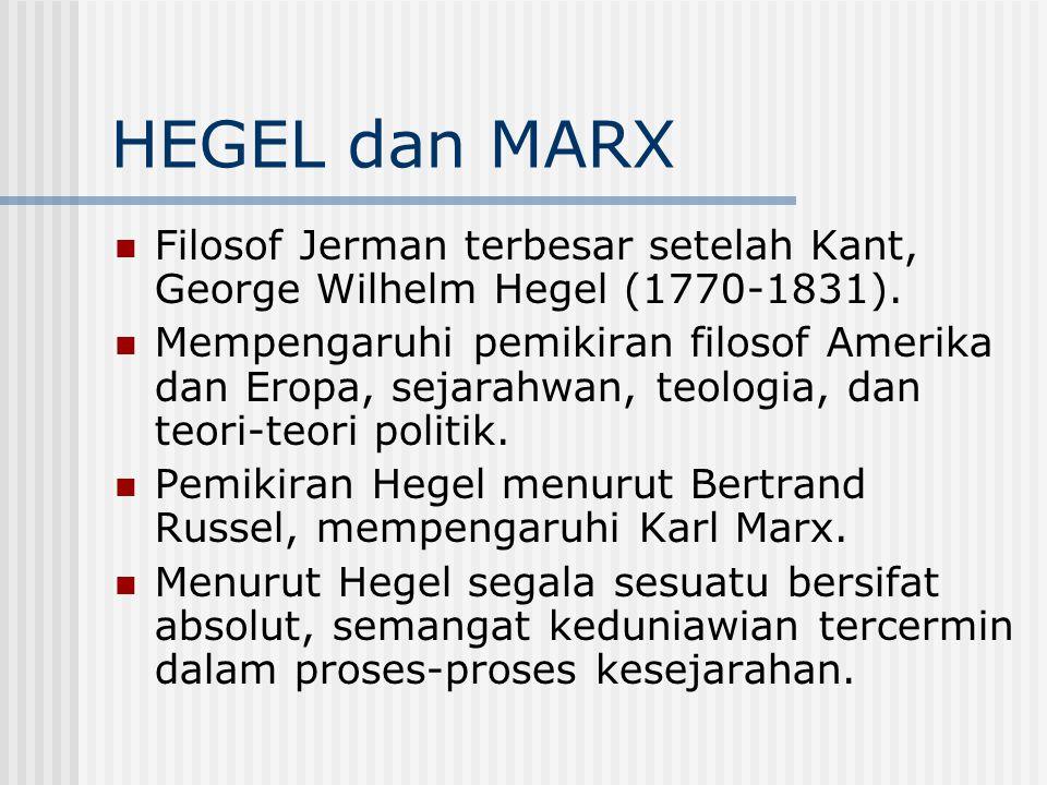HEGEL dan MARX Filosof Jerman terbesar setelah Kant, George Wilhelm Hegel (1770-1831). Mempengaruhi pemikiran filosof Amerika dan Eropa, sejarahwan, t