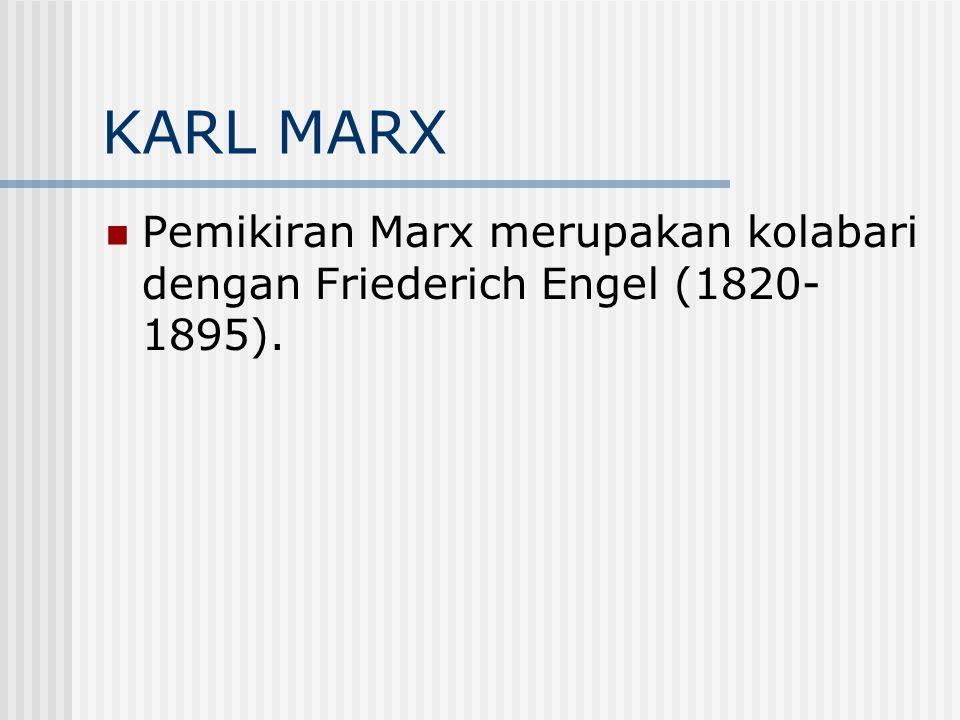 KARL MARX Pemikiran Marx merupakan kolabari dengan Friederich Engel (1820- 1895).